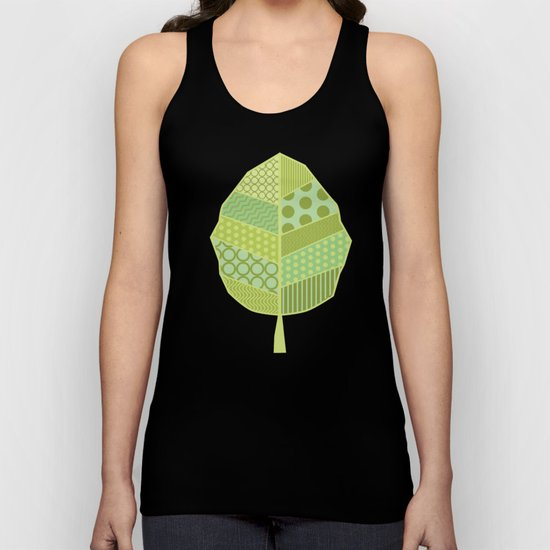 The Unique One (Green Patterned Leaf Patchwork) Unisex Tank Top