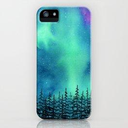"""Wilderness Lights"" Aurora Borealis watercolor landscape painting iPhone Case"