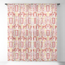 Swedish Folk Art_Mid-Century Modern Sheer Curtain