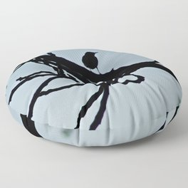 Sparrows Silhouette Birds Tree Bare Branches Floor Pillow