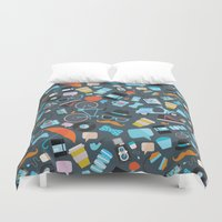 macaroon Duvet Covers featuring Hipster pattern by Anna Alekseeva kostolom3000