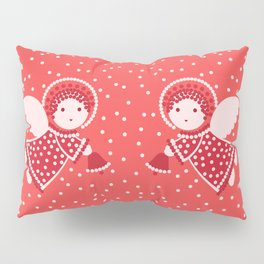 Angels on the red Pillow Sham