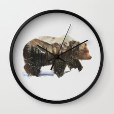 Arctic Grizzly Bear Wall Clock