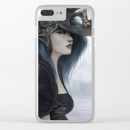 Bluish Black - Mysterious fantasy mage girl portrait Clear iPhone Case