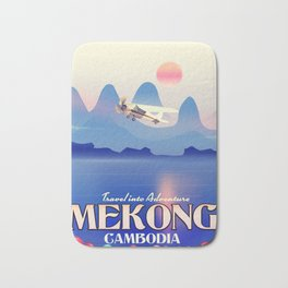 Mekong Cambodia vacation poster. Bath Mat