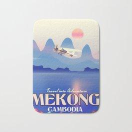 Mekong Cambodia vacation poster. Bath Mat