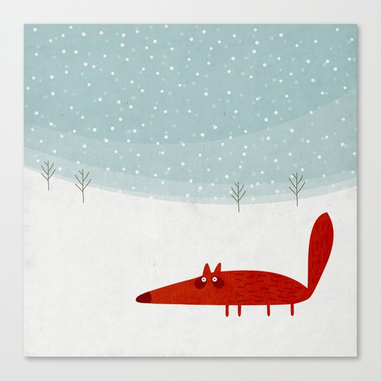 the fox in the snow Canvas Print