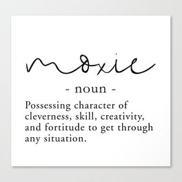 Charming Moxie Definition   Minimalist Black Canvas Print