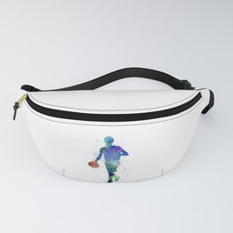 one young man basketball player dribbling silhouette in studio isolated on white background Fanny Pack