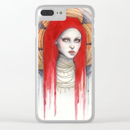 """""""Kaos"""" Mixed Media Portrait painting Clear iPhone Case"""
