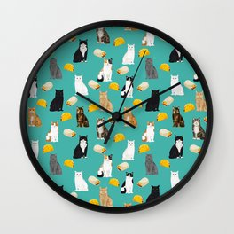 Cat breed tacos and burritos cute kitty lover pet gifts must have mexican food night Wall Clock