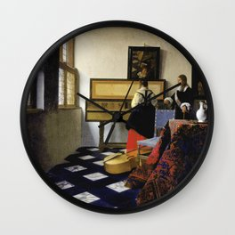 Johannes Vermeer  - The Music Lesson Wall Clock