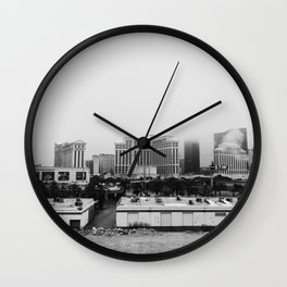 Back Side of the Bellagio // Las Vegas Strip City Landscape Cloudy Snow Day Foggy Raw Photograph Wall Clock
