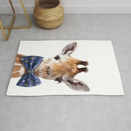 Baby Giraffe With Bow Tie, Baby Animals Art Print By Synplus Rug
