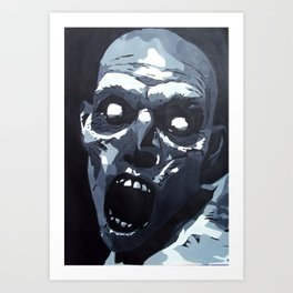 Hungry Zombie- Abstract Zombie Painting Art Print