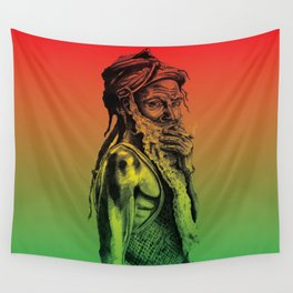 Old rastafarian man smoking against red, yellow, green background Wall Tapestry