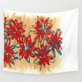 Painted Flowers Wall Tapestry
