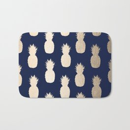 Gold Pineapple Pattern Navy Blue Bath Mat