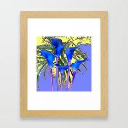 MODERN BLUE CALLA LILIES YELLOW GARDEN Framed Art Print