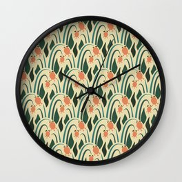 a lot of flowers for art deco green Wall Clock
