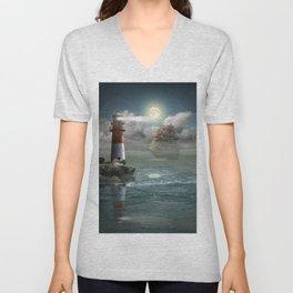 Lighthouse Under Back Light Unisex V-Neck