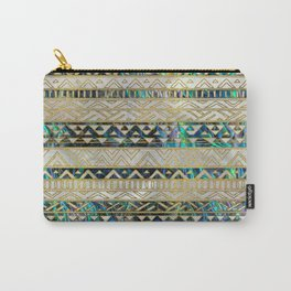 Tribal Ethnic  Pattern Gold on Abalone Shell and Pearl Carry-All Pouch