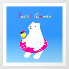Sweet Summer Polar Bear Art Print