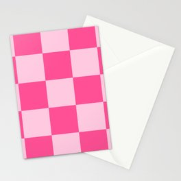 Magog - Pink Checkerboard Pixel Pattern Stationery Cards