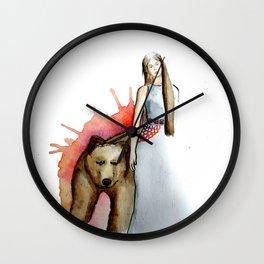 Girl and bear Wall Clock