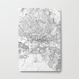 Johannesburg White Map Metal Print