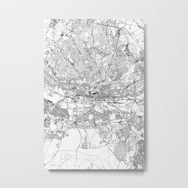 Johannesburg White Map Metal Print