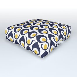 Retro Avocado Blue Outdoor Floor Cushion