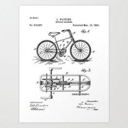 Bike Patent - Bicycle Art - Black And White Art Print