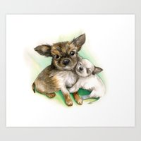 puppies Art Prints featuring little puppies by RasaOm