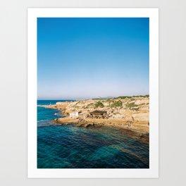 "Travel photography ""Cala Comte / Escondida""   Modern wall art Ibiza Conta Spain pastel tones sunset Art Print"