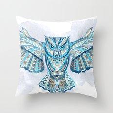 Blue Ethnic Owl Throw Pillow