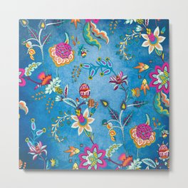 Blue Lapis Velvet Texture Chintz Multicolour Bohemian Floral Pattern Metal Print