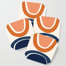 Abstract Shapes 7 in Burnt Orange and Navy Blue Coaster