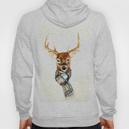 Deer buck with winter scarf - watercolor Hoody