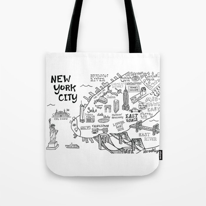 8517de948744 New York City Map Tote Bag by clairelordon