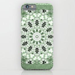 Light green ornament, kaleidoscope, mandala, patchwork, green mandala, light green kaleidoscope, eth iPhone Case