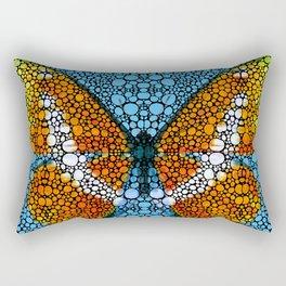 Stone Rock'd Butterfly By Sharon Cummings Rectangular Pillow