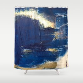 Halo [2]: a minimal, abstract mixed-media piece in blue and gold by Alyssa Hamilton Art Shower Curtain