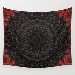 Red and Black Bohemian Mandala Design Wall Tapestry