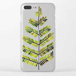 Green Leaflets Clear iPhone Case