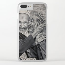 Old men friends and brothers for ever black and whit oil painting Clear iPhone Case