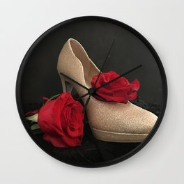 Glitter Gold Stiletto and Two Red Roses Wall Clock
