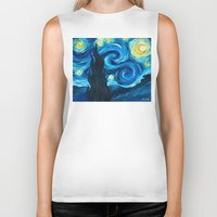 starry night Biker Tanks featuring Starry Starry Night by Jade Cohen