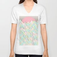 pastel V-neck T-shirts featuring Forest Pastel by dogooder