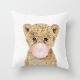 Bubble Gum Lion Cub Throw Pillow